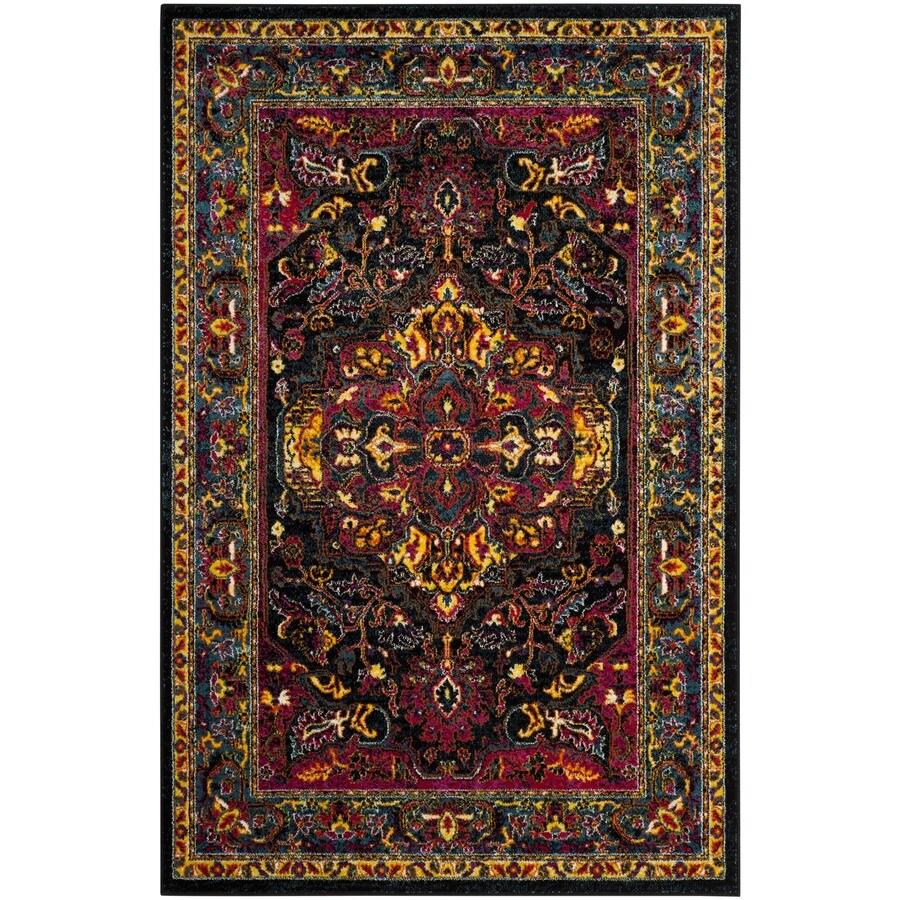 Safavieh Cherokee Regen Black/Blue Indoor Oriental Area Rug (Common: 6 x 9; Actual: 6-ft W x 9-ft L)