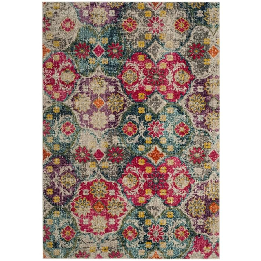 Safavieh Monaco Jung Gray/Fuchsia Indoor Distressed Area Rug (Common: 5 x 8; Actual: 5.1-ft W x 7.6-ft L)