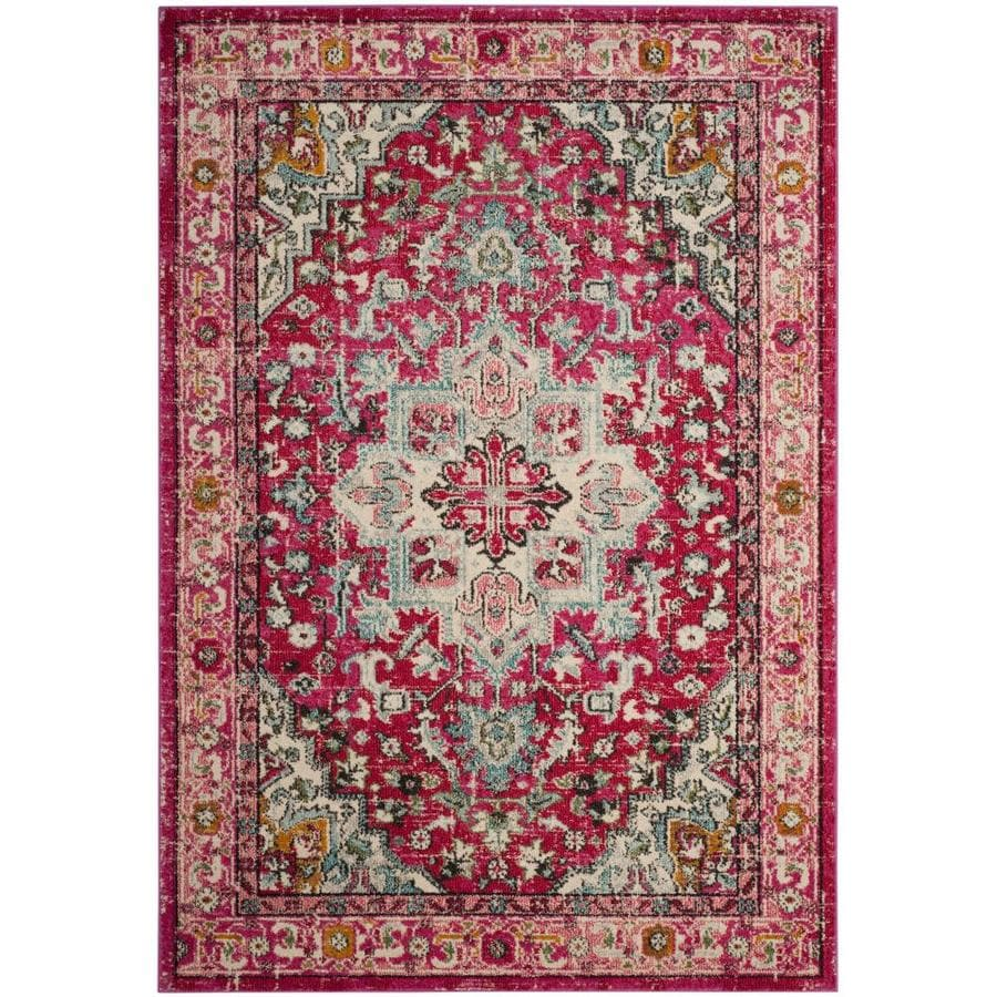 Safavieh Monaco Skar Fuchsia/Light Blue Indoor Distressed Area Rug (Common: 4 x 6; Actual: 4-ft W x 5.6-ft L)