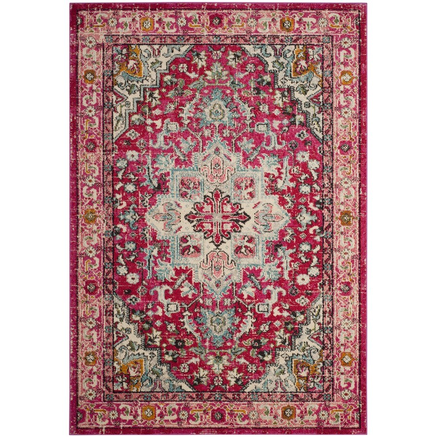 Safavieh Monaco Skar Fuchsia/Light Blue Rectangular Indoor Machine-made Distressed Area Rug (Common: 5 x 8; Actual: 5.1-ft W x 7.6-ft)