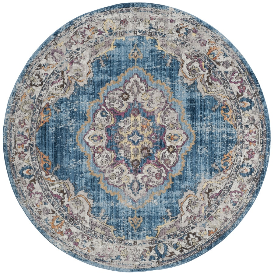 Safavieh Bristol Tabriz Blue/Light Gray Round Indoor Machine-Made Area Rug (Common: 7 x 7; Actual: 7-ft W x 7-ft L x 7-ft dia)