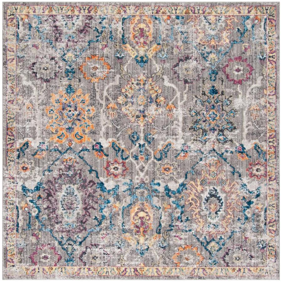 Safavieh Bristol Kashan Gray/Blue Square Indoor Machine-Made Area Rug (Common: 7 x 7; Actual: 7-ft W x 7-ft L)