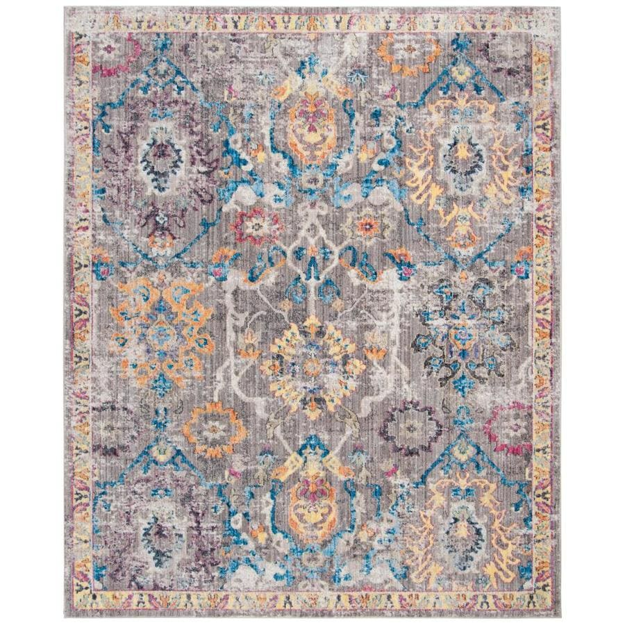 Blue Outdoor Rug 9x12: Safavieh Bristol Kashan Gray/Blue Indoor Distressed Area
