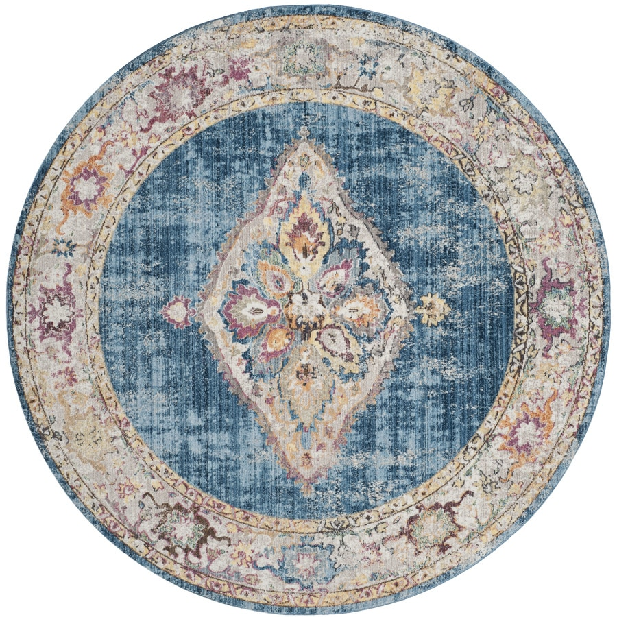 Safavieh Bristol Kerman Blue/Ivory Round Indoor Machine-Made Area Rug (Common: 7 x 7; Actual: 7-ft W x 7-ft L x 7-ft dia)