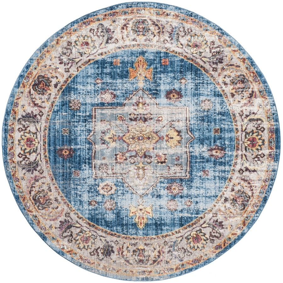 Safavieh Bristol Heriz 7 X 7 Blue Ivory Round Indoor Abstract Oriental Area Rug In The Rugs Department At Lowes Com