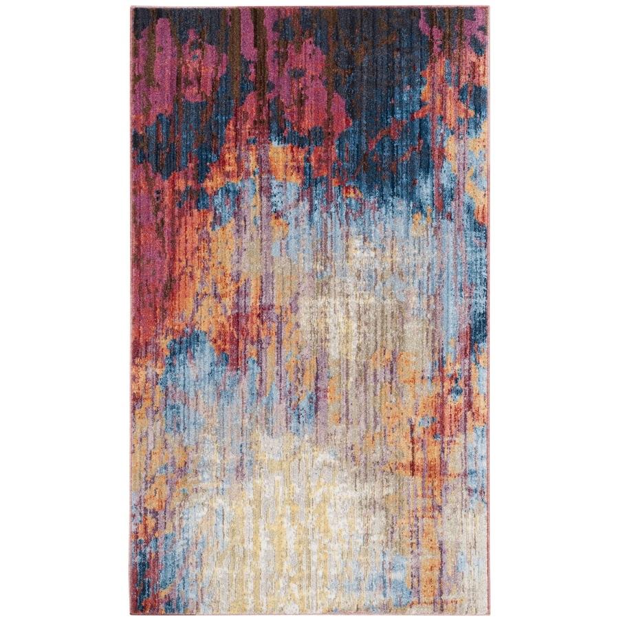 Safavieh Bristol Modus Blue/Rust 4-ft x 6-ft