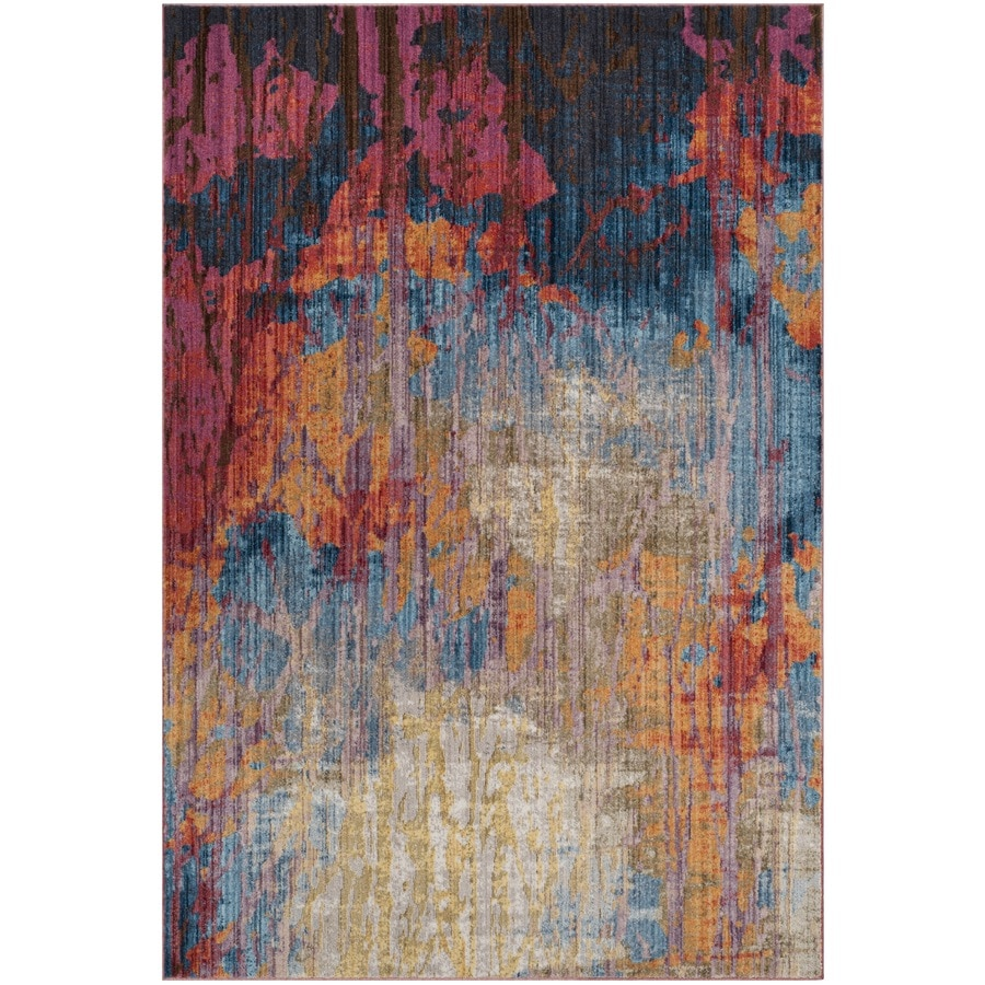 Safavieh Bristol Modus Blue/Rust Rectangular Indoor Machine-Made Area Rug (Common: 5 x 8; Actual: 5.1-ft W x 7.5-ft L)