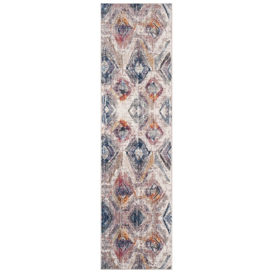 Safavieh Bristol Qalif Lavender/Light Gray Rectangular Indoor Machine-Made Runner (Common: 2 x 8; Actual: 2.25-ft W x 8-ft L)