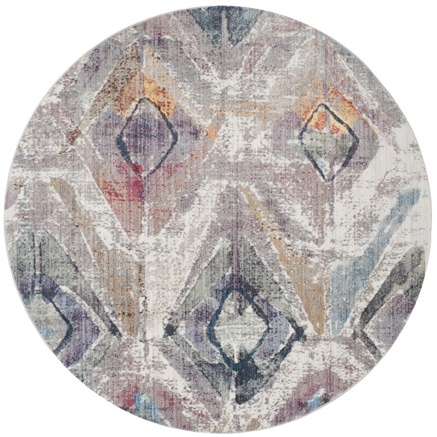 Safavieh Bristol Qalif Lavender/Light Gray Round Indoor Machine-Made Area Rug (Common: 7 x 7; Actual: 7-ft W x 7-ft L x 7-ft dia)