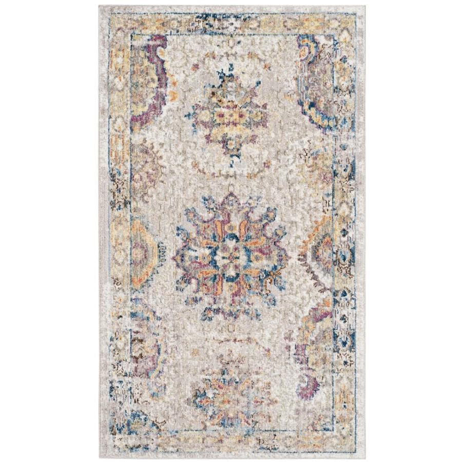 Safavieh Bristol Blanca Light Gray/Blue Rectangular Indoor Machine-Made Throw Rug (Common: 3 x 5; Actual: 3-ft W x 5-ft L)