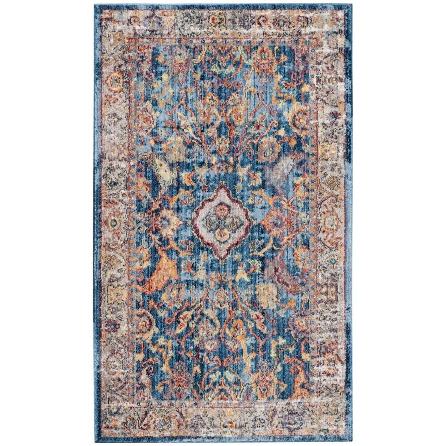 Safavieh Bristol Mellila Blue/Light Gray Rectangular Indoor Machine-Made Area Rug (Common: 4 x 6; Actual: 4-ft W x 6-ft L)