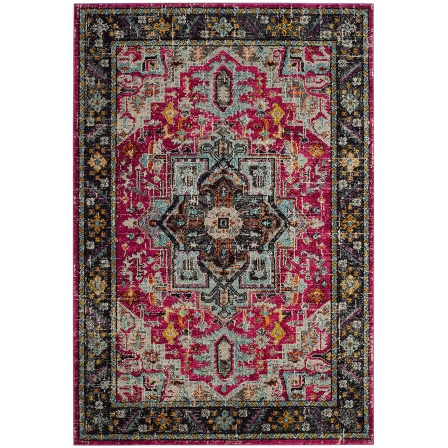 Safavieh Monaco Sommer Fuchsia/Gray Indoor Distressed Area Rug (Common: 5 x 8; Actual: 5.1-ft W x 7.6-ft L)