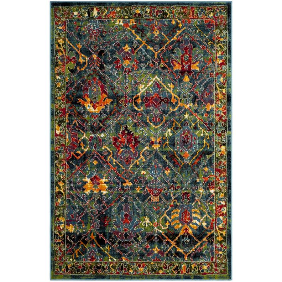 Safavieh Cherokee Dolby Blue/Red Rectangular Indoor Machine-Made Lodge Area Rug (Common: 5 x 7; Actual: 5.1-ft W x 7.5-ft L)