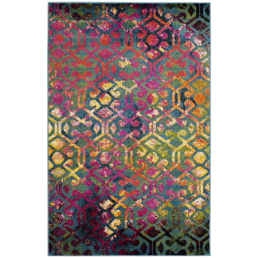Safavieh Cherokee Parker Light Blue/Fuchsia Indoor Lodge Area Rug (Common: 4 x 6; Actual: 4-ft W x 6-ft L)