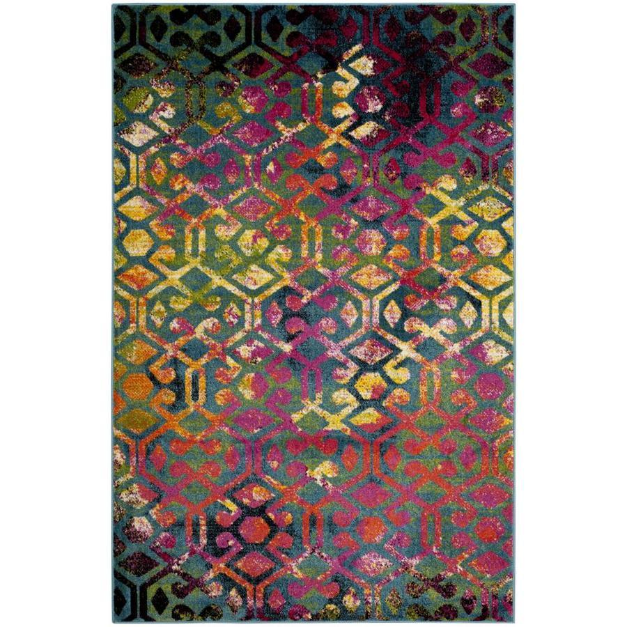 Safavieh Cherokee Parker Light Blue/Fuchsia Indoor Lodge Area Rug (Common: 6 x 9; Actual: 6-ft W x 9-ft L)