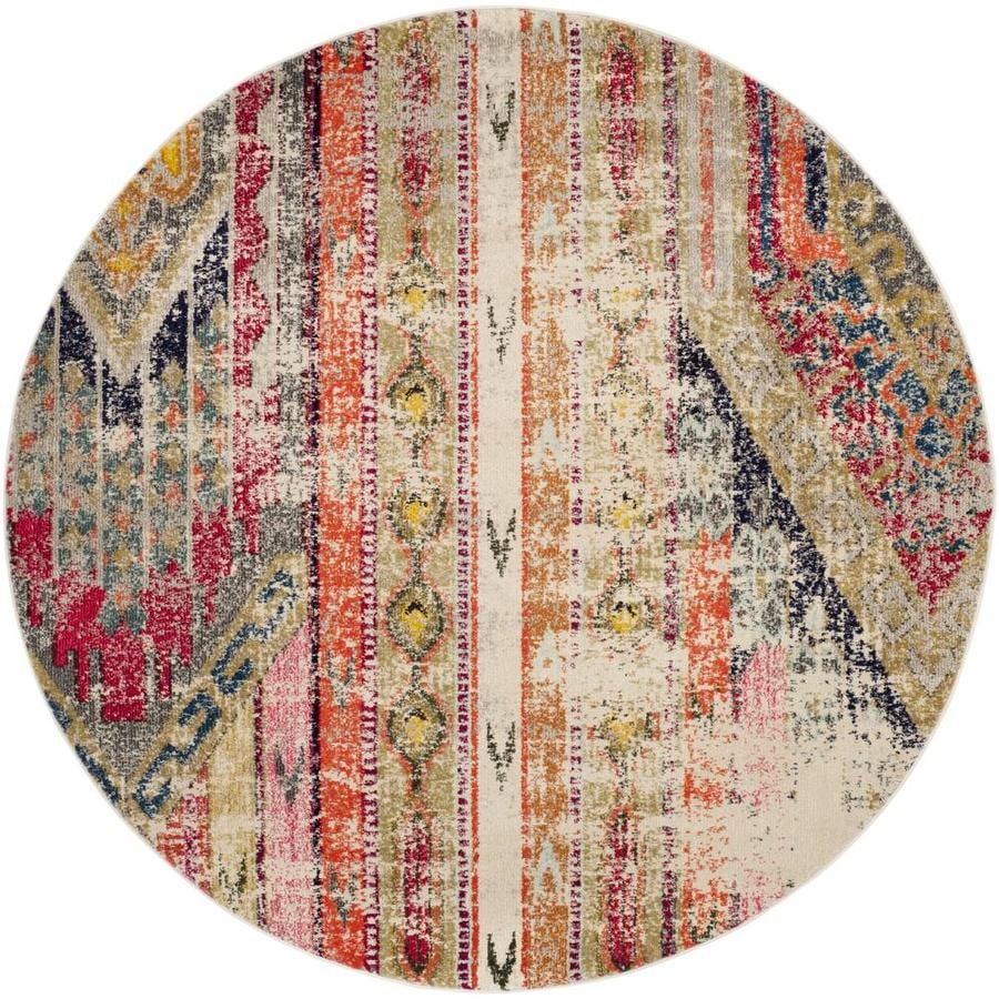 Safavieh Monaco Kolby Light Gray Round Indoor Distressed Area Rug (Common: 9 x 9; Actual: 9-ft W x 9-ft L)