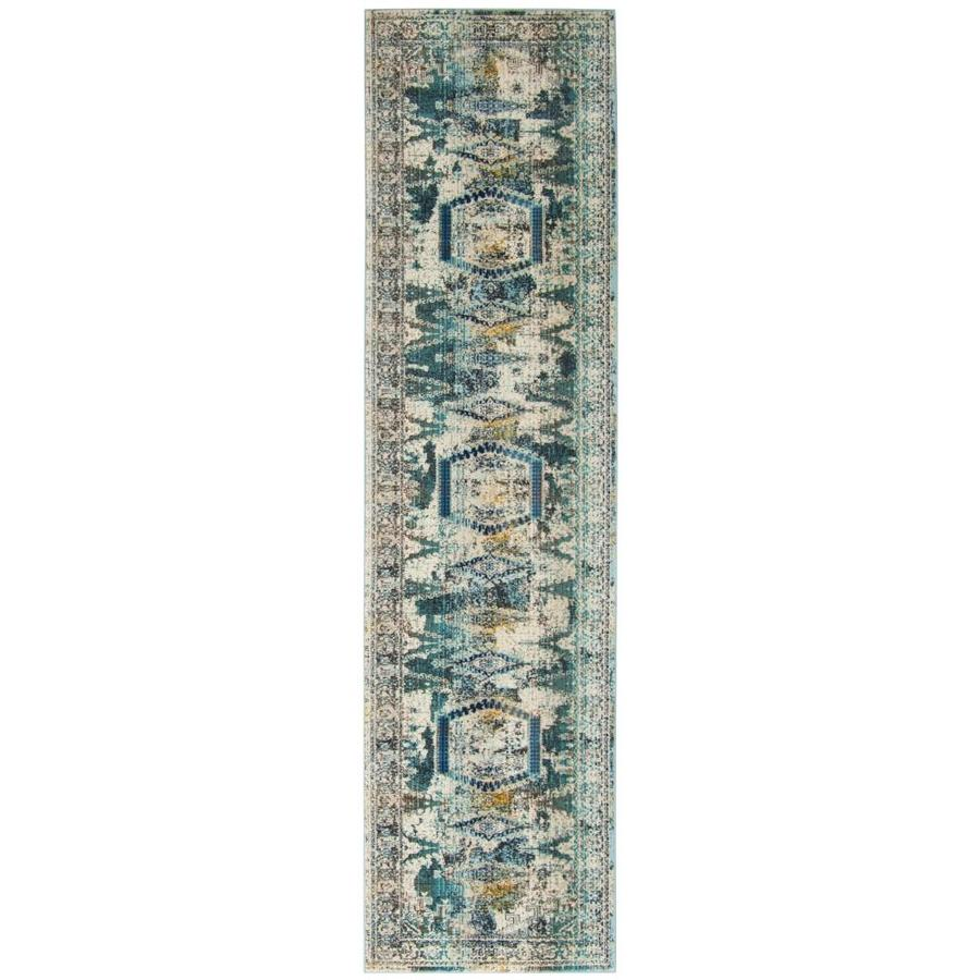 Shop Safavieh Baldwin Hamadan Ivory Teal Indoor Distressed