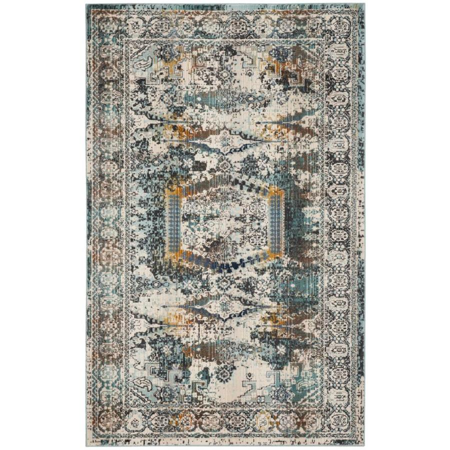 Safavieh Baldwin Hamadan Ivory/Teal Rectangular Indoor Distressed Area Rug