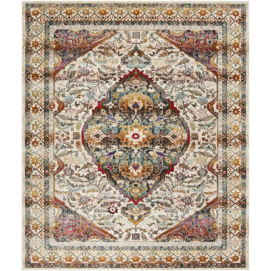 Safavieh Baldwin Bidjar Ivory/Teal Rectangular Indoor Distressed Area Rug