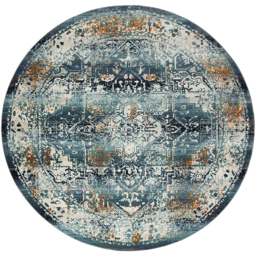 Safavieh Baldwin Malayer Teal/Ivory Round Indoor Distressed Area Rug