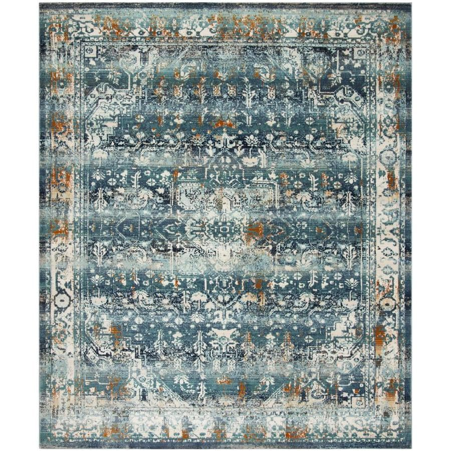 Safavieh Baldwin Malayer Teal Ivory Indoor Distressed Area