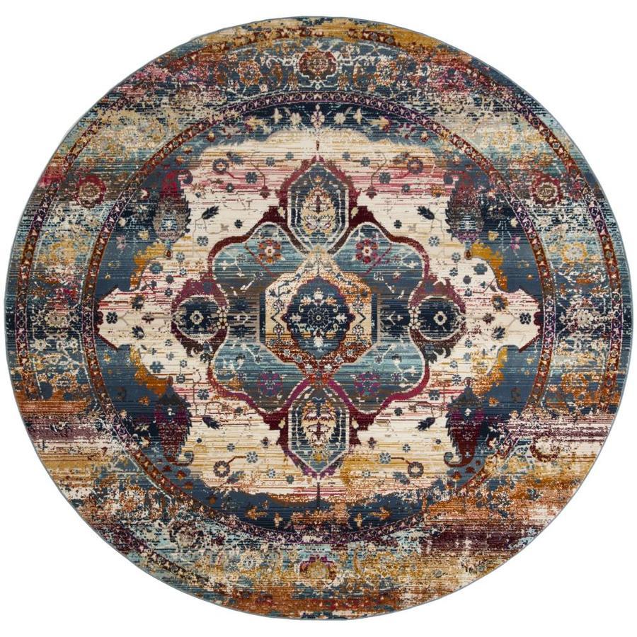 Safavieh Baldwin Bakhtiar Slate Blue/Rust Round Indoor Distressed Area Rug