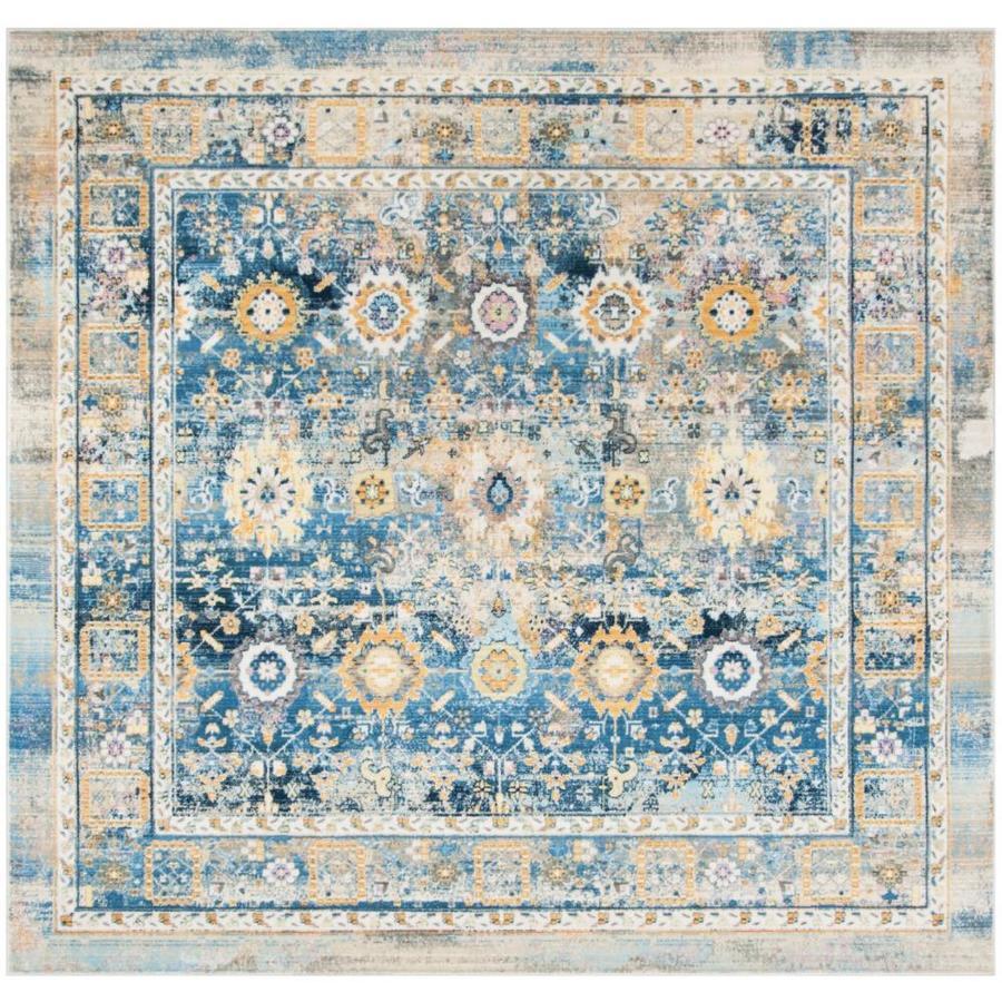 Safavieh Claremont Chystie Blue/Gold Square Indoor Distressed Area Rug