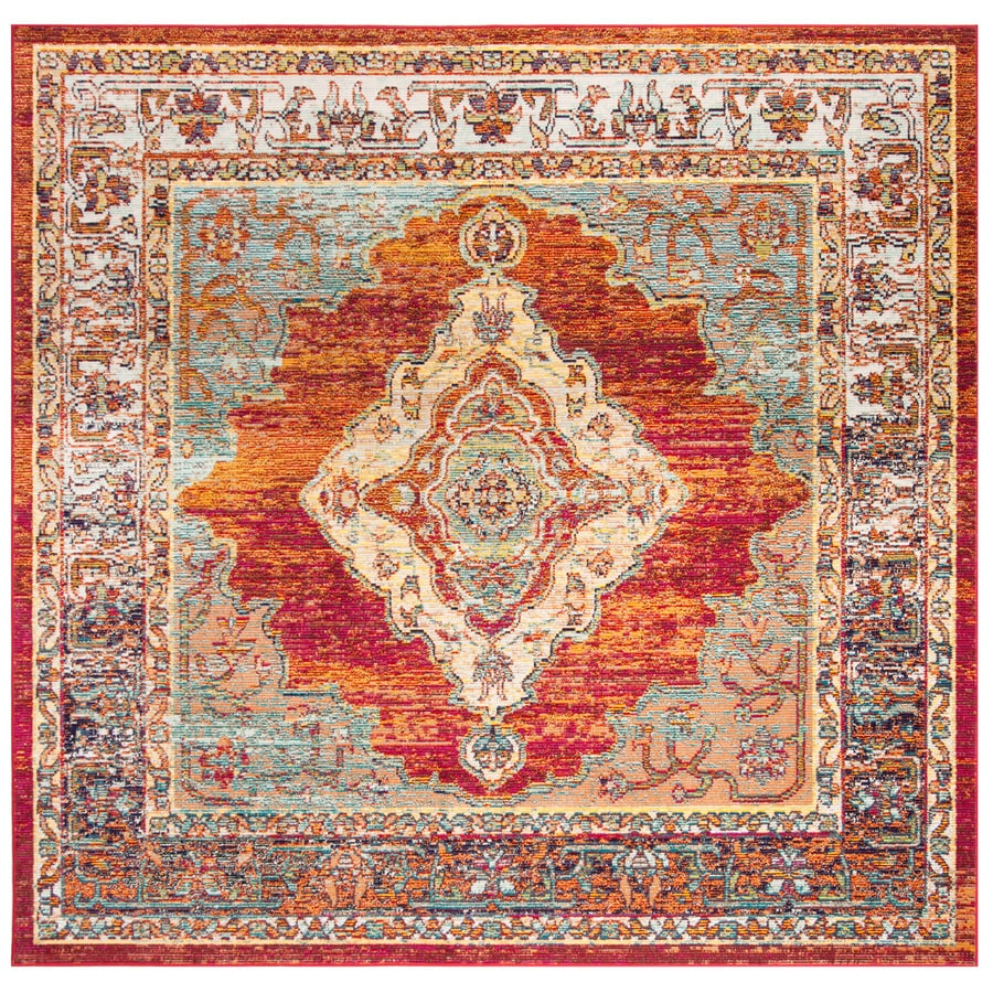 Safavieh Crystal Emory Orange/Light Blue Square Indoor Distressed Area Rug