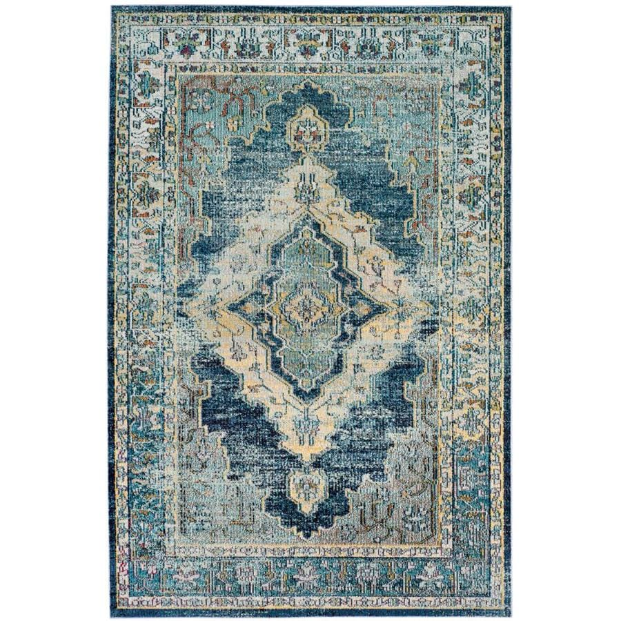 Shop Safavieh Crystal Emory Blue Yellow Indoor Distressed