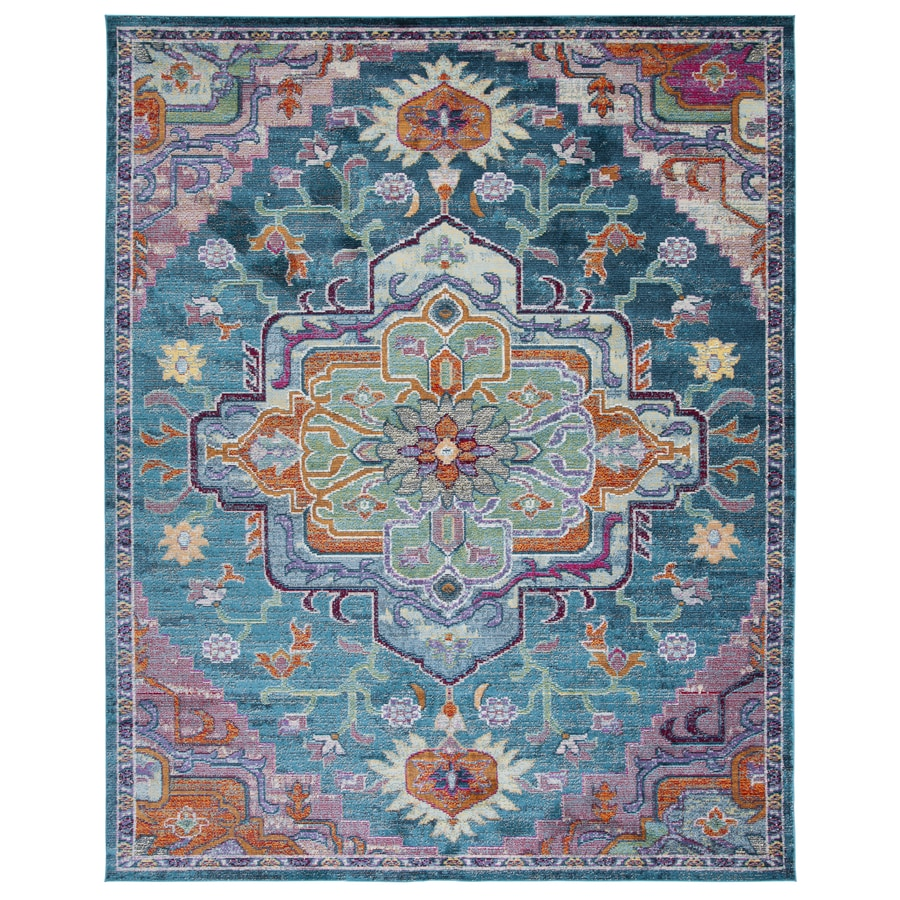 Safavieh Crystal Fable Teal/Rose Rectangular Indoor Distressed Throw Rug