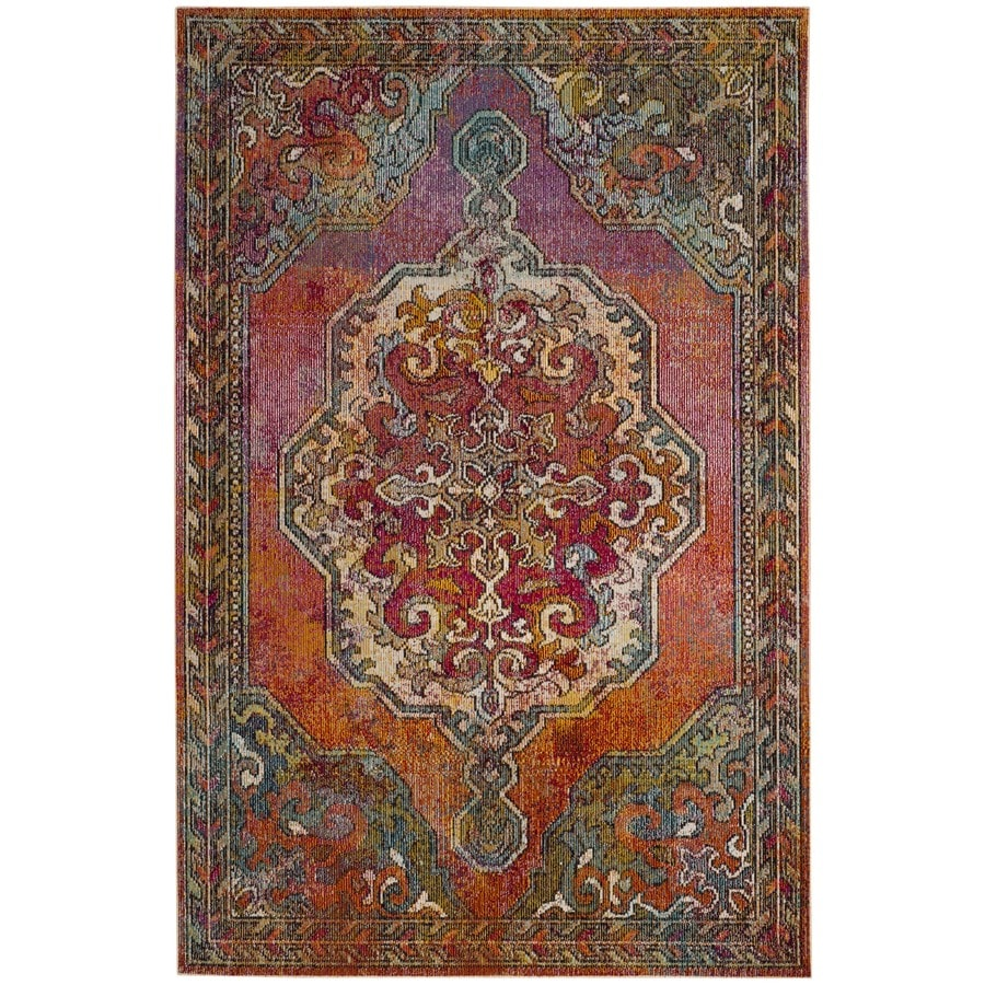 Safavieh Crystal Haven Orange/Light Blue Rectangular Indoor Distressed Area Rug