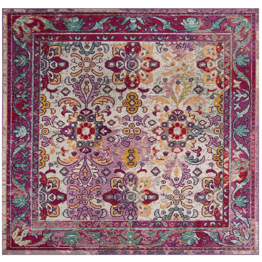 Safavieh Crystal Tristan Light Blue/Fuchsia Square Indoor Distressed Area Rug