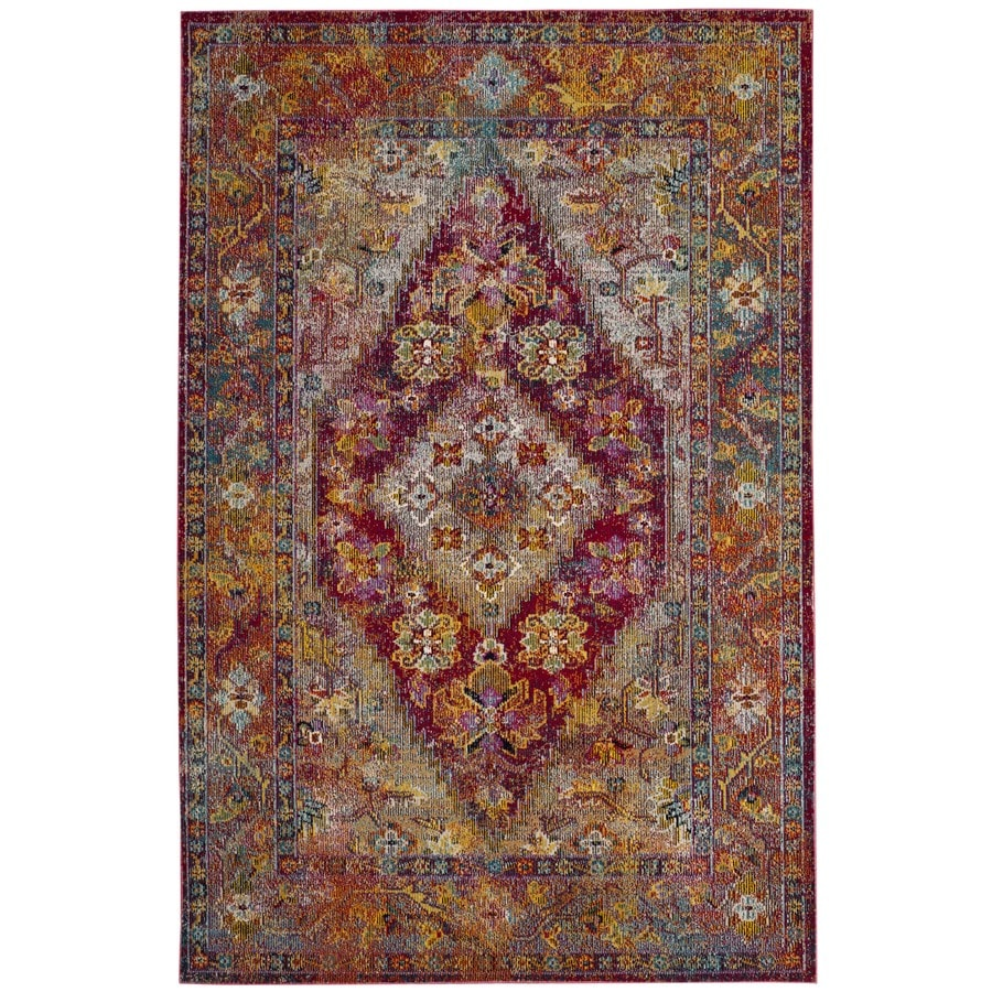 Safavieh Crystal Celeste Light Blue/Fuchsia Rectangular Indoor Distressed Area Rug