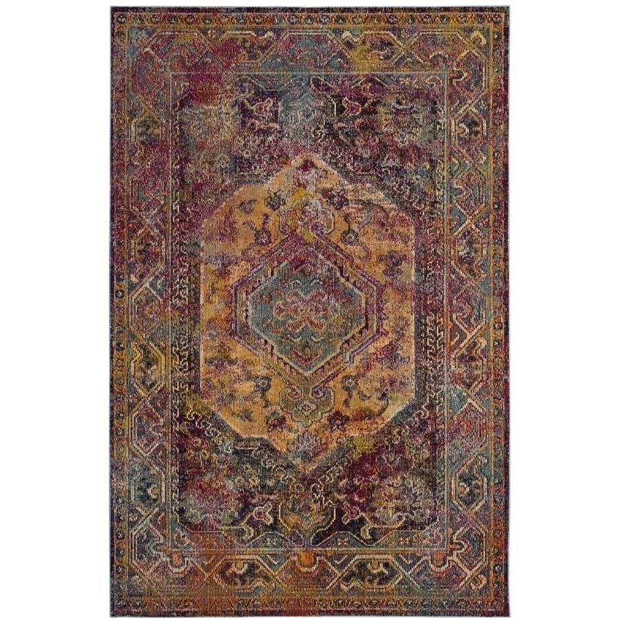 Safavieh Crystal Altmont Teal/Rose Rectangular Indoor Distressed Area Rug