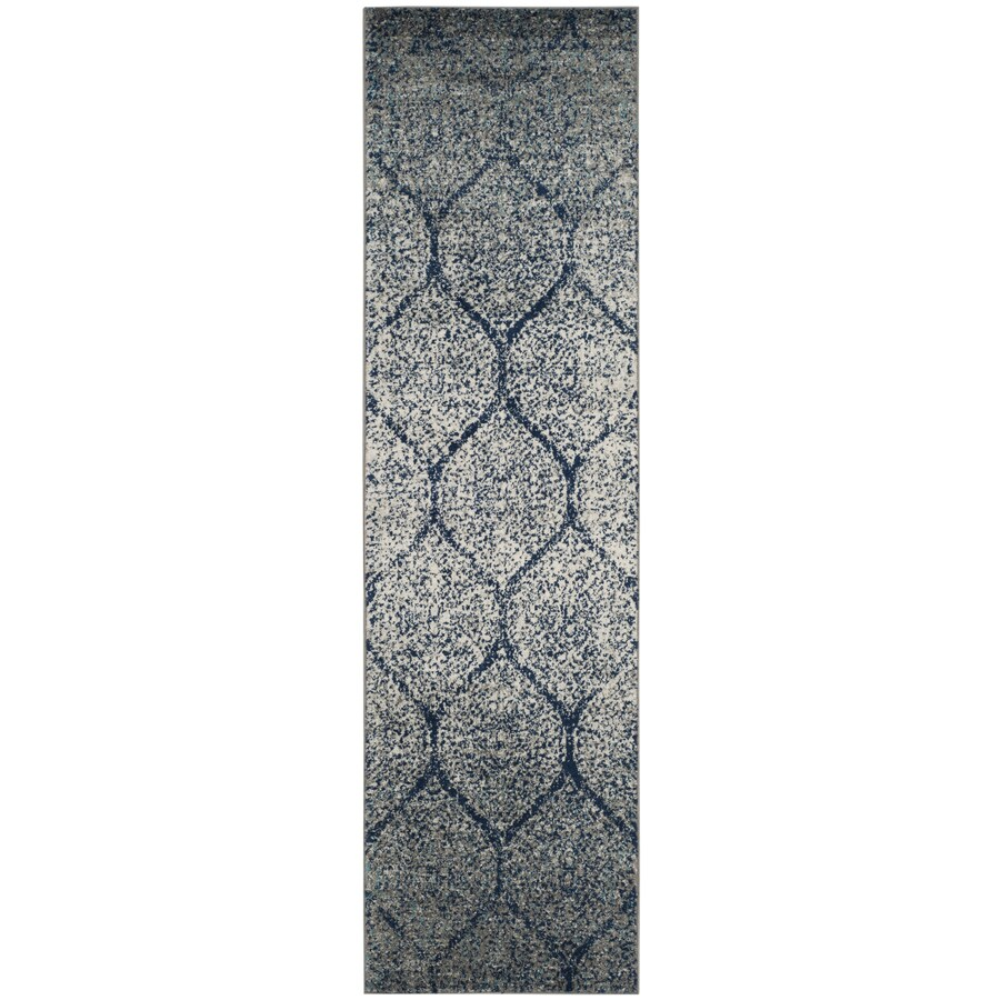 Safavieh Madison Westmont Navy/Silver Indoor Lodge Runner (Common: 2 x 10; Actual: 2.3-ft W x 10-ft L)