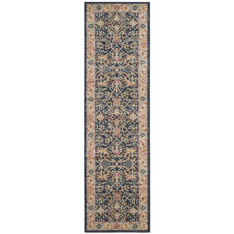 Safavieh Madison Toila Navy/Creme Indoor Oriental Runner (Common: 2 x 10; Actual: 2.3-ft W x 10-ft L)