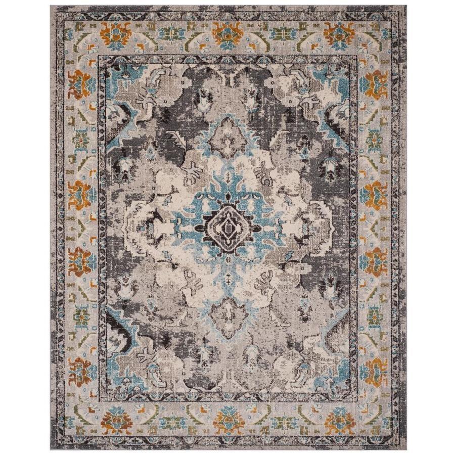 Safavieh Monaco Mahal Gray/Light Blue Rectangular Indoor Machine-Made Distressed Area Rug (Common: 10 x 14; Actual: 10-ft W x 14-ft L)