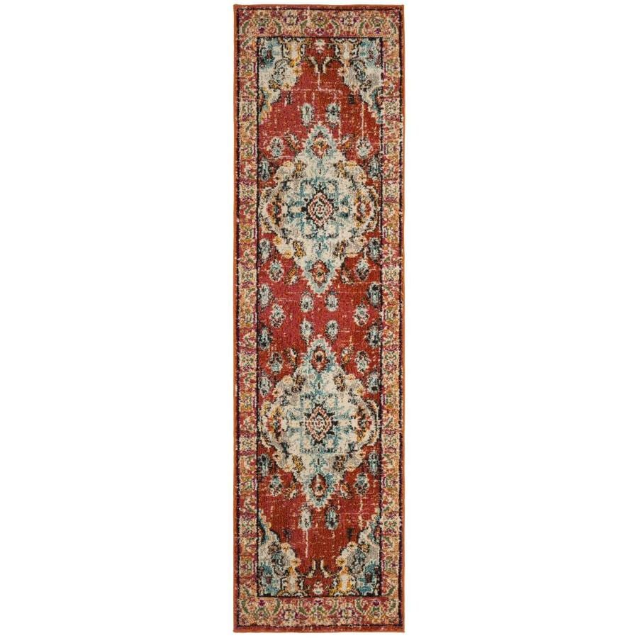 Safavieh Monaco Mahal Orange/Light Blue Indoor Distressed Runner (Common: 2 x 12; Actual: 2.2-ft W x 12-ft L)
