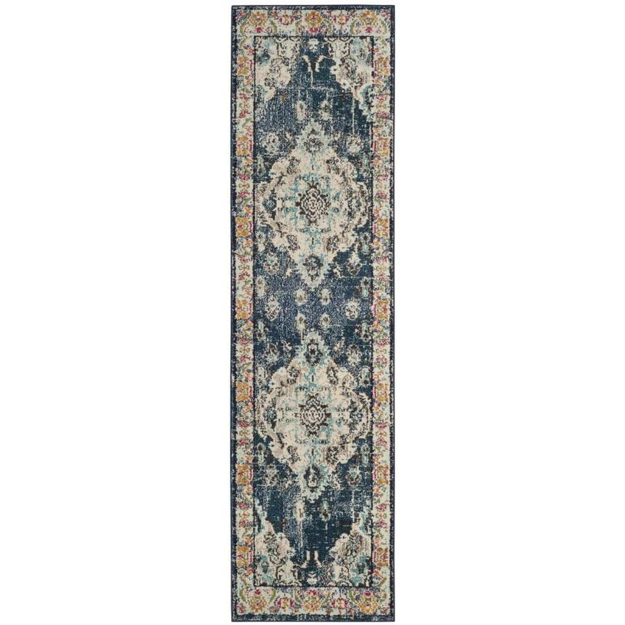 Safavieh Monaco Mahal Navy/Light Blue Indoor Distressed Runner (Common: 2 x 16; Actual: 2.2-ft W x 16-ft L)