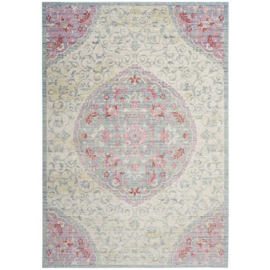 Safavieh Windsor Talieh Light Gray/Blue Indoor Oriental Area Rug (Common: 5 x 7; Actual: 5-ft W x 7-ft L)
