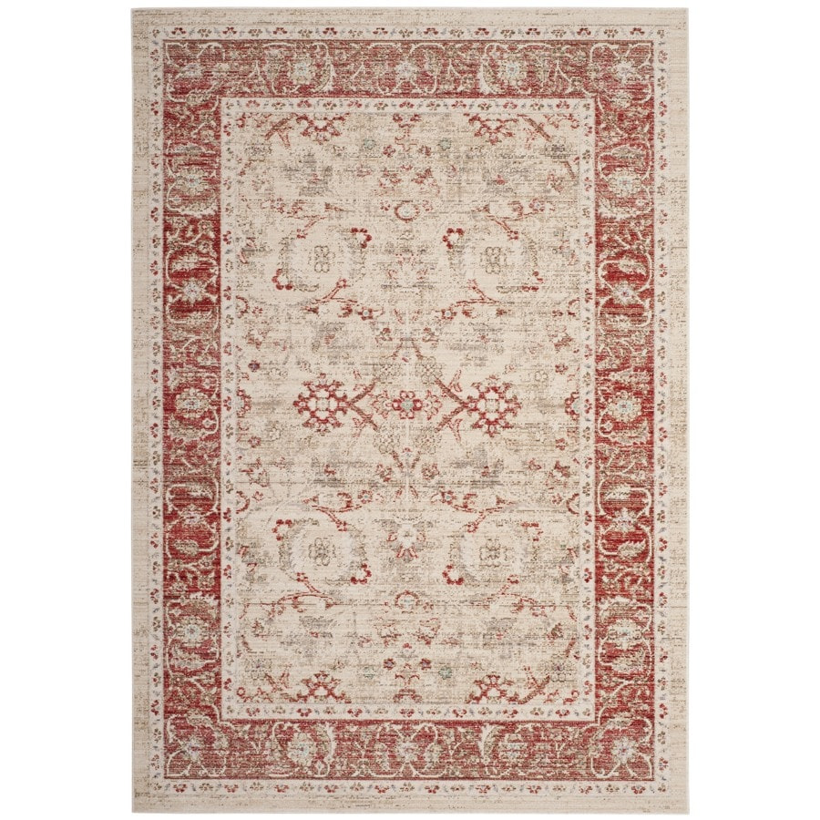 Safavieh Windsor Maloos Ivory/Red Rectangular Indoor Machine-Made Oriental Throw Rug (Common: 3 x 5; Actual: 3-ft W x 5-ft L)