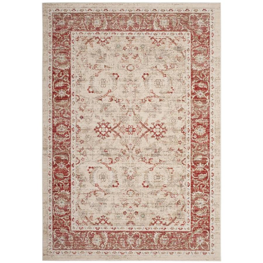 Safavieh Windsor Maloos Ivory/Red Rectangular Indoor Machine-Made Oriental Area Rug (Common: 8 x 10; Actual: 8-ft W x 10-ft L)