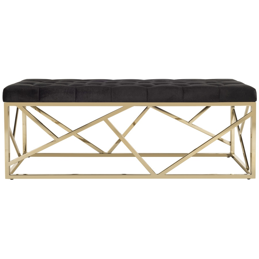 Safavieh Farah Contemporary Black/Brass Accent Bench at Lowes.com