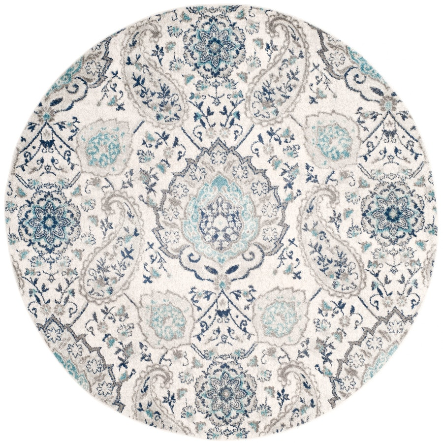 Blue And White Circle Rug: Safavieh Madison Abbey Cream/Light Gray Round Indoor Lodge