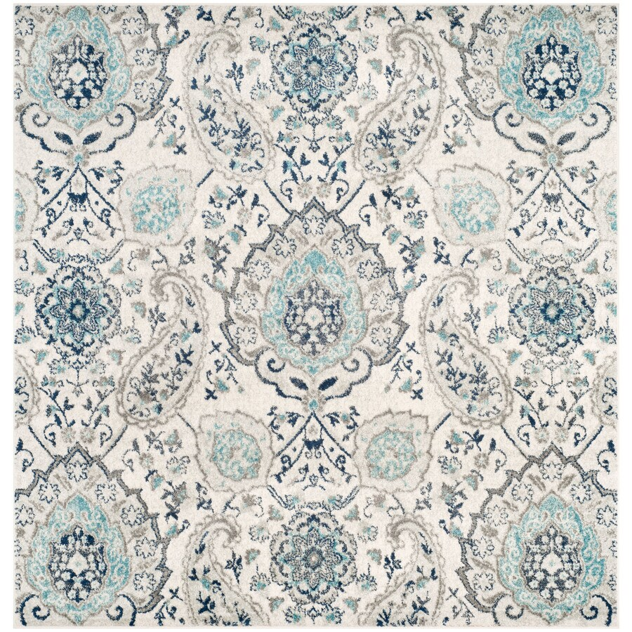 Safavieh Madison Abbey Cream/Light Gray Square Indoor Machine-Made Lodge Area Rug (Common: 5 x 5; Actual: 5-ft W x 5-ft L x 5-ft dia)