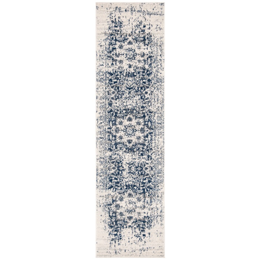 Safavieh Madison Nord Cream/Navy Indoor Distressed Runner (Common: 2 x 14; Actual: 2.3-ft W x 14-ft L)