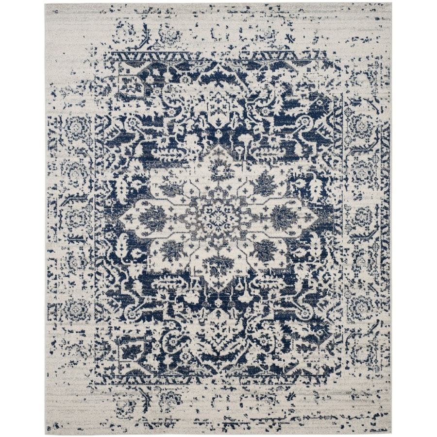 Safavieh Madison Nord Cream/Navy Rectangular Indoor Machine-Made Distressed Area Rug (Common: 12 x 18; Actual: 12-ft W x 18-ft L)