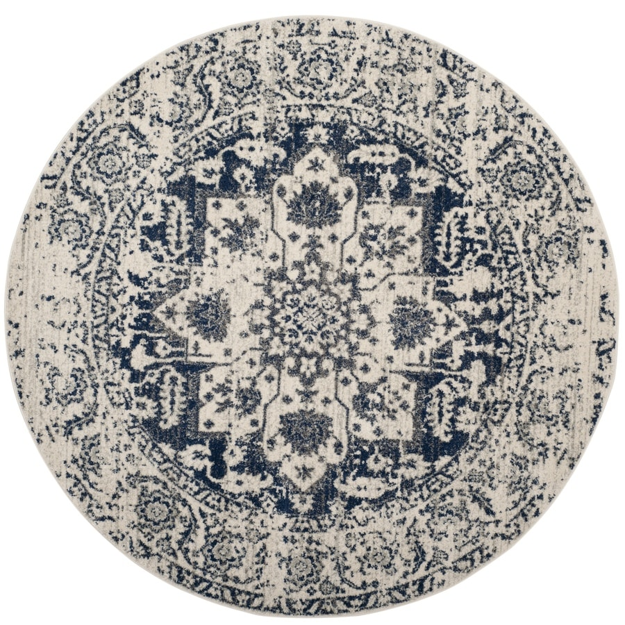 Safavieh Madison Nord Cream/Navy Round Indoor Distressed Area Rug (Common: 5 x 5; Actual: 5-ft W x 5-ft L x 5-ft dia)