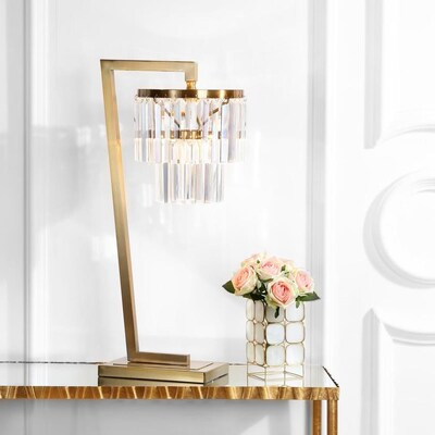 Safavieh Callum 30 In Brass Gold Clear Chandelier Table Lamp At