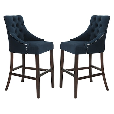 Prime Safavieh Eleni Set Of 2 Navy Bar Stool At Lowes Com Alphanode Cool Chair Designs And Ideas Alphanodeonline
